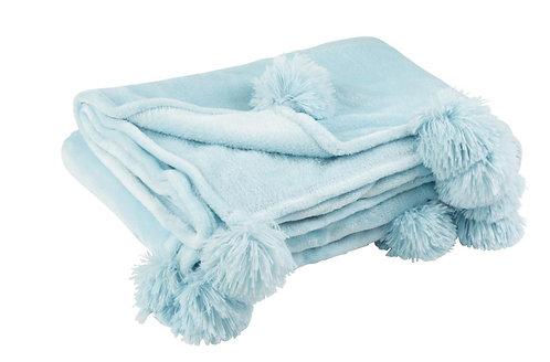 Plaid Pompon Polyester Bleu Ciel