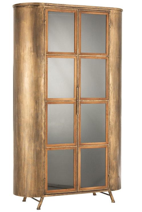 Armoire Sur Pieds 2 Portes Metal/Verre Antique Or