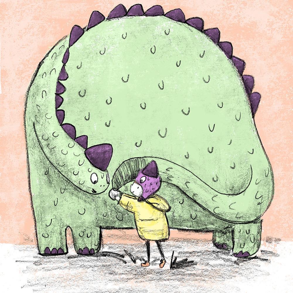 illustration of boy and dinosaur
