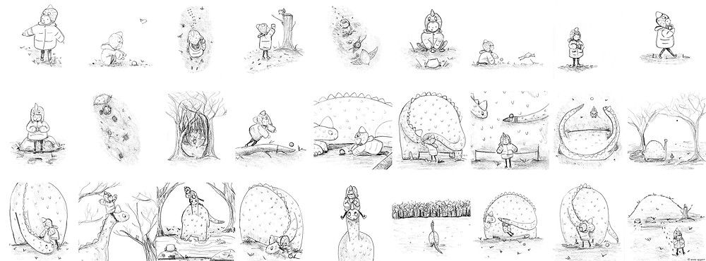 Pencil drawings of a toddler boy and dinosaur