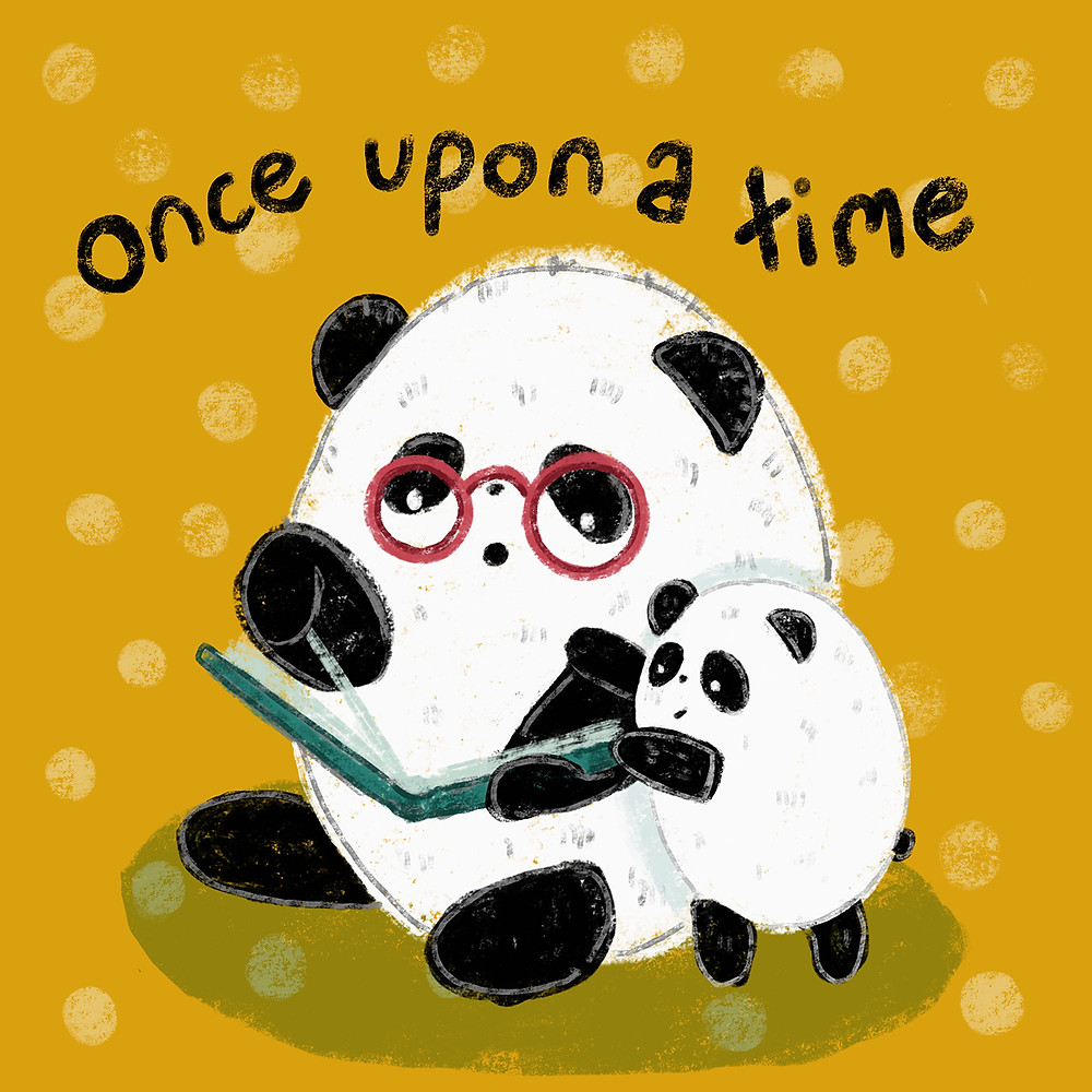 illustration of two pandas reading a book