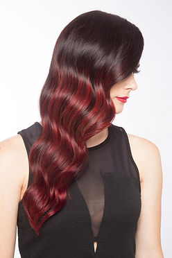 Red ombre finger waves