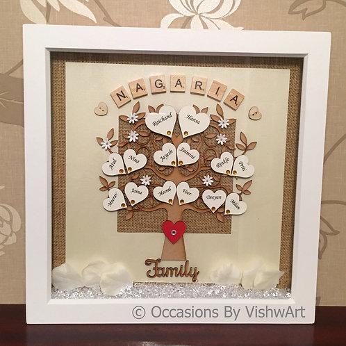 MAHAAR - Personalised Wooden Family Tree Frame 30 x30