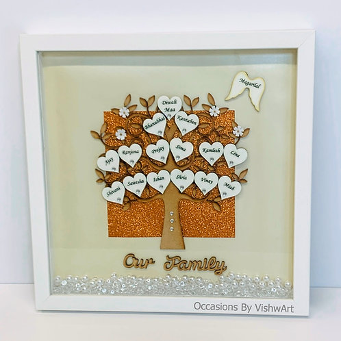 RUSHI Personalised Wooden Family Tree Frame 30 x30