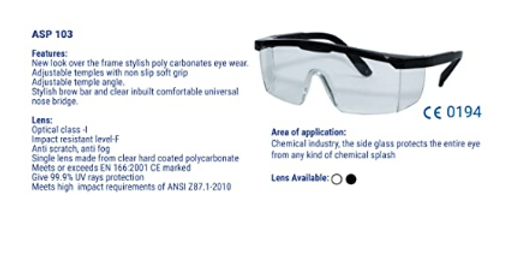 Acme Safewell Safety Goggles - Polycarbonate Eyewear A103