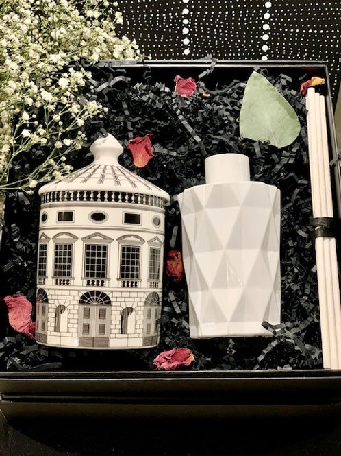 Fornasetti Architecture Candle and White Diamond Diffuser