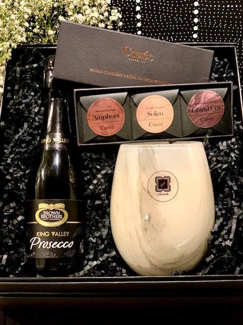 Prosecco Glass Marble Trio Cuvee Chocolate