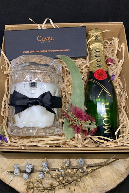 Luxe  Moet Hamper Diamond Candle  and Trio Cuvee Chocolate