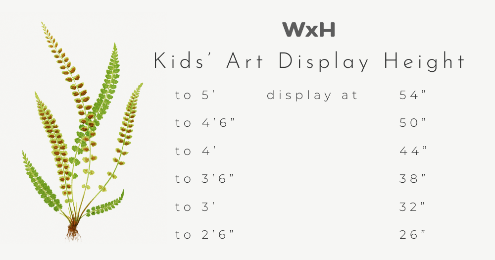 WxH Art Height Chart for Kids, child height to 2 feet 6 inches, display at 26 inches, child height to 3 feet, display at 32 inches, child height to 3 feet 6 inches, display at 38 inches, child height to 4 feet, display at 44 inches, child height to 4 feet 6 inches, display at 50 inches, and child height to 5 feet, display at 54 inches