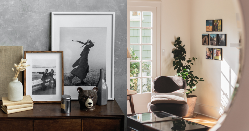 Two black and white photographs on a dresser and family photo collage on a wall.