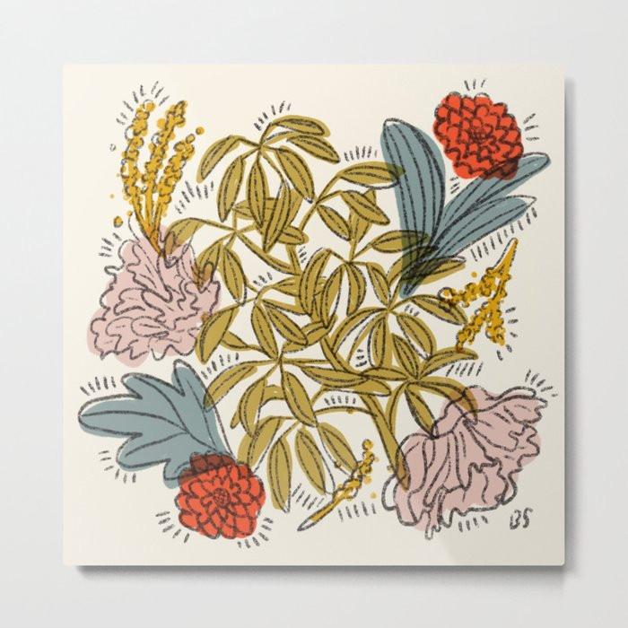 Floral illustration with pink and red flowers