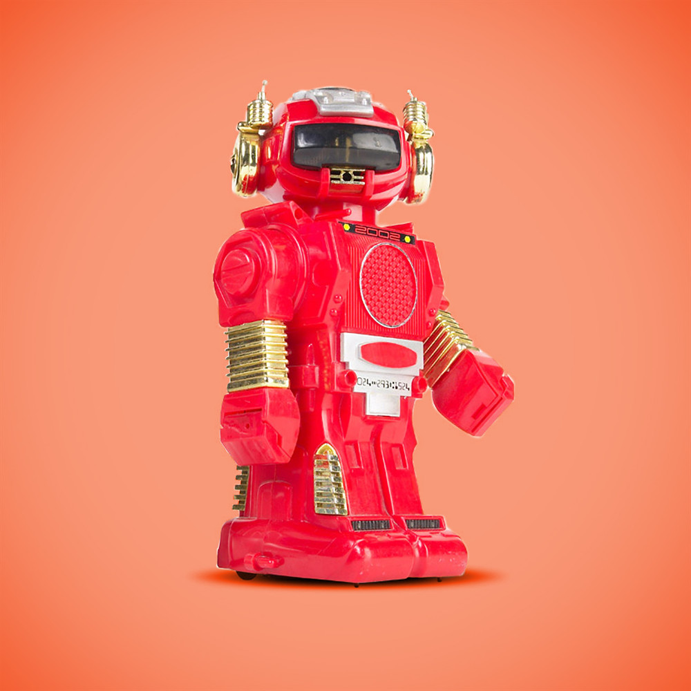 Red robot on orange background