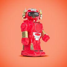 Robot rouge sur fond orange