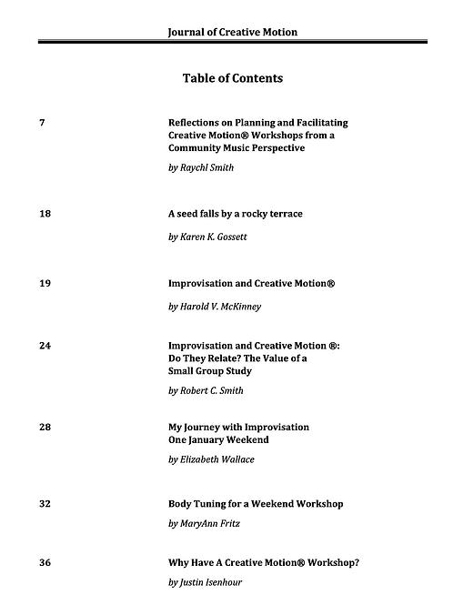 Journal of Creative Motion, Volume 20