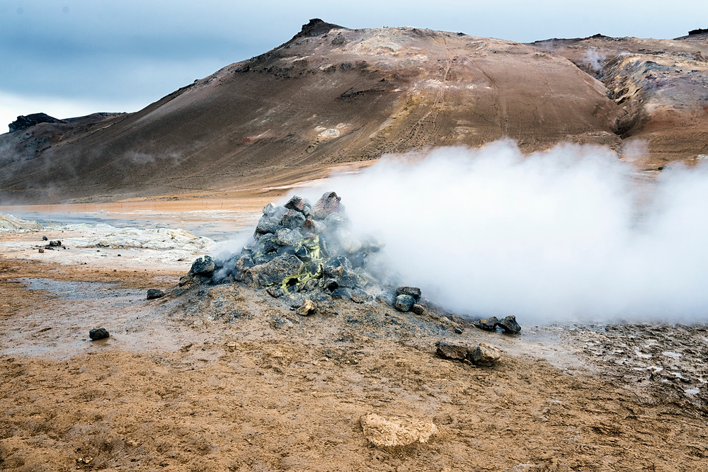 A smoking hot steam vent due to geothermic activity
