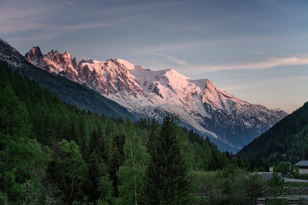 Setting sun on Mont Blanc
