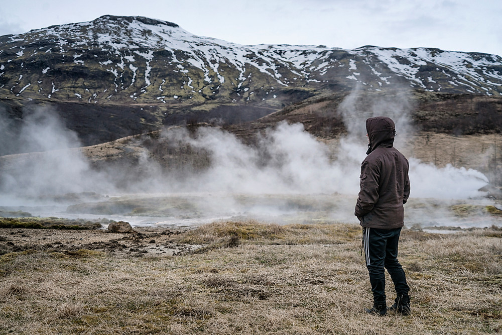 Mark checking out the steam vents