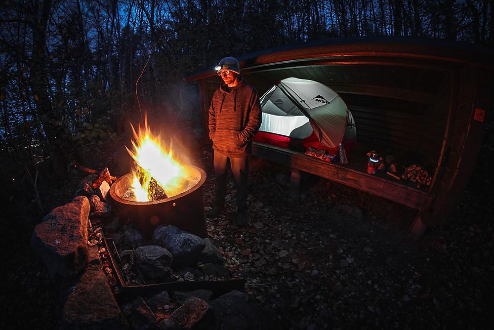 Campsite setup in Båstad on Skåneleden