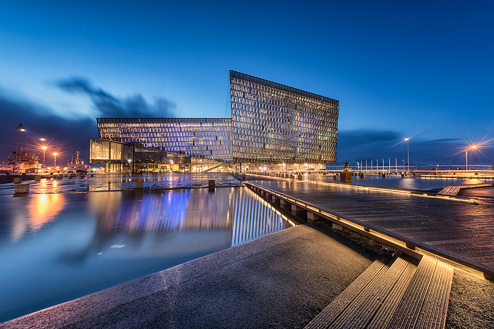 Harpa lit up beautifully in the nighttime