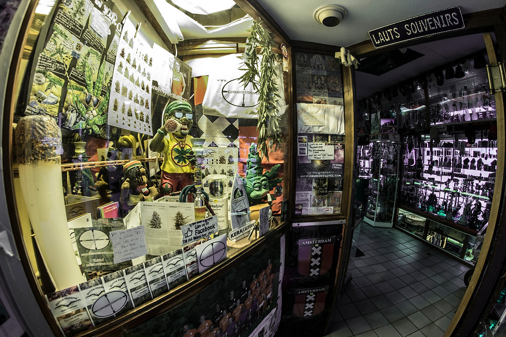 A typical smoke shop in Amsterdam
