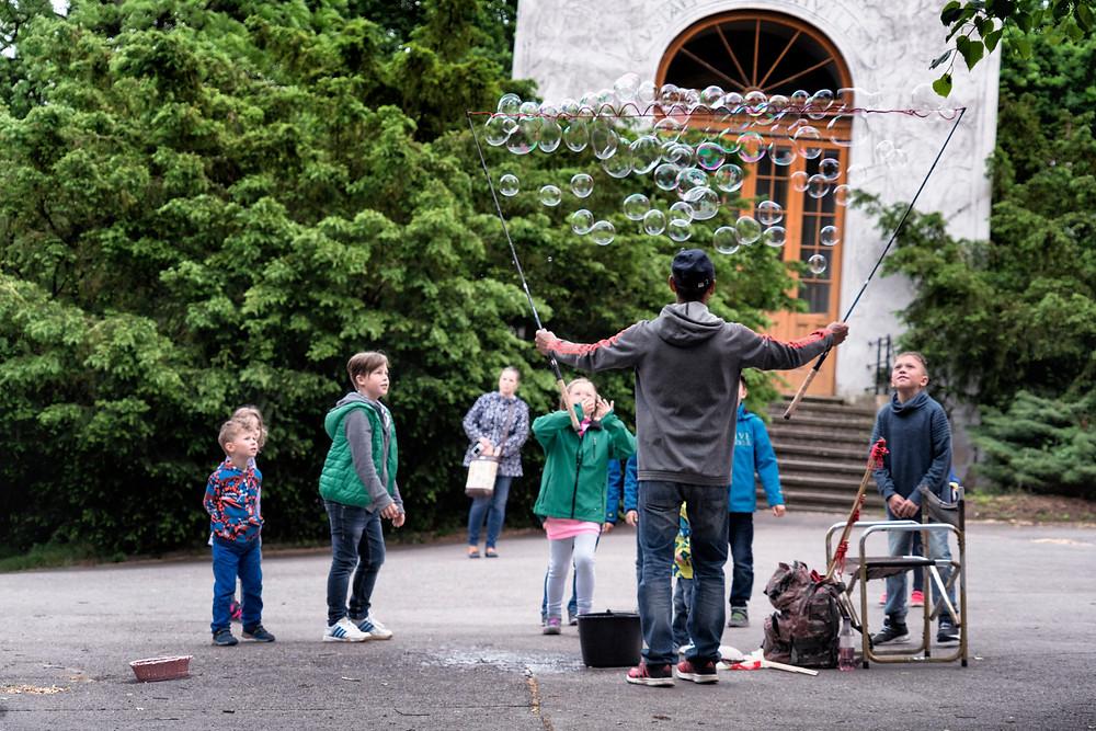 Kids loving the bubble making