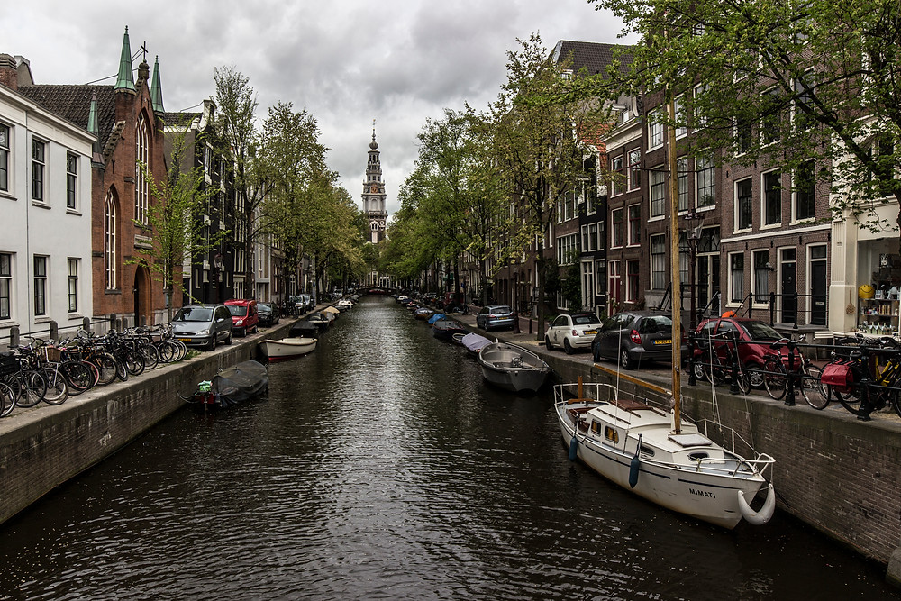 Looking down one of the many canals of Amsterdam