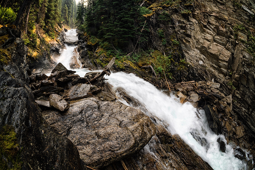 One of the many waterfalls along the Lake of the Hanging Glacier hike