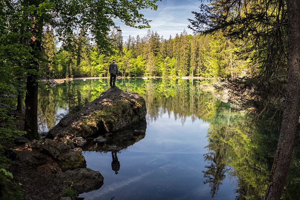The reflection off Lac Vert was serene