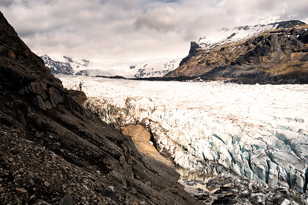 Taking in the giant glacier like no other
