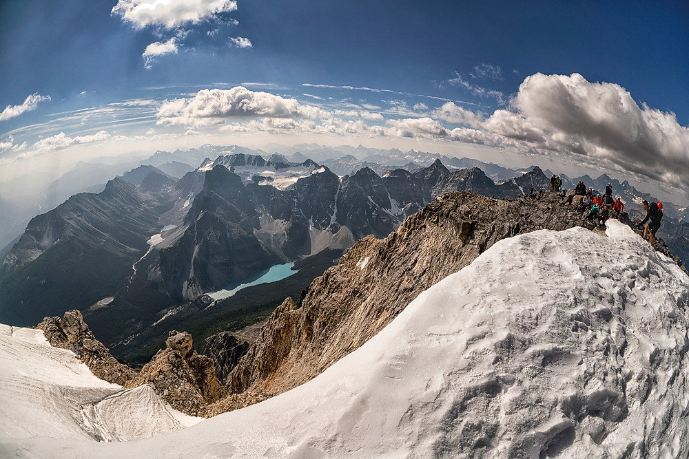 The highest point I've ever hiked to at 3550 metres is Mount Temple this summer.