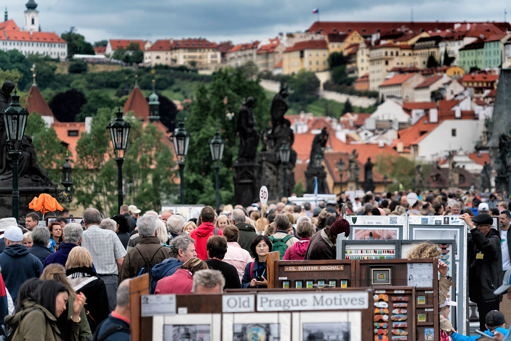 The Charles Bridge packed with tourists like me