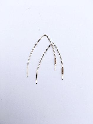 Wishbone Earrings with Gold