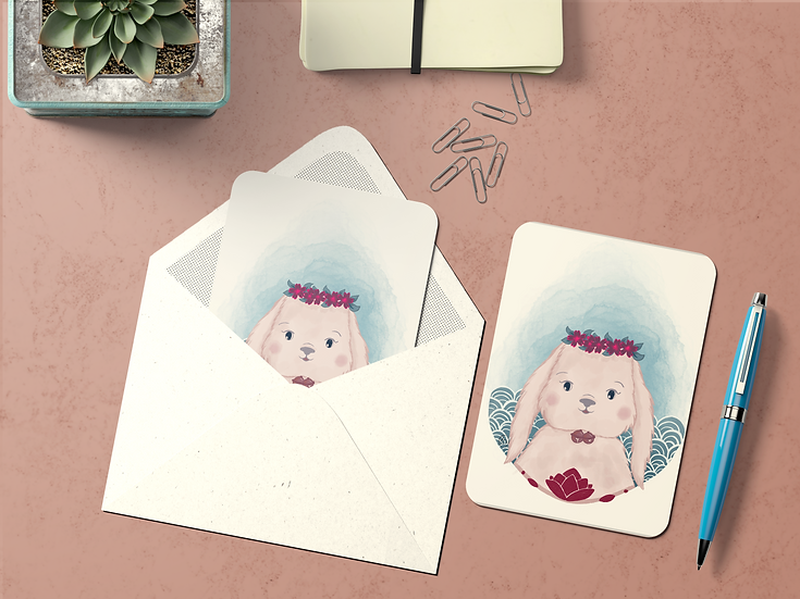 Carte Postale Animaux Laineux ~LAPIN