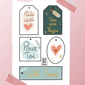 Les étiquettes illustrées de la St valentin
