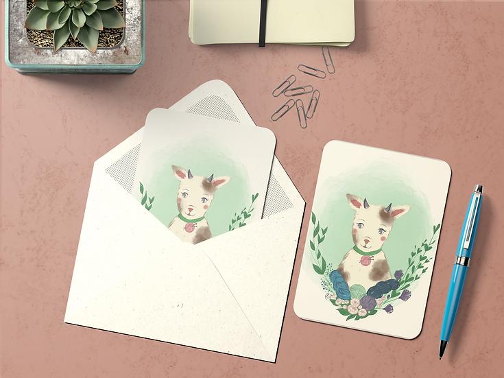 Carte Postale Animaux Laineux ~Chèvre