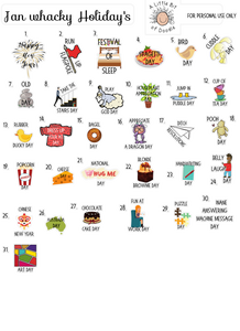 Whacky Holiday Stickers for January