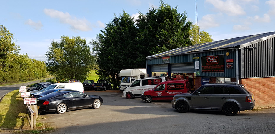 Forecourt of CAS Motor Services. Car Repairs and Servicing near Ledbury / Hereford
