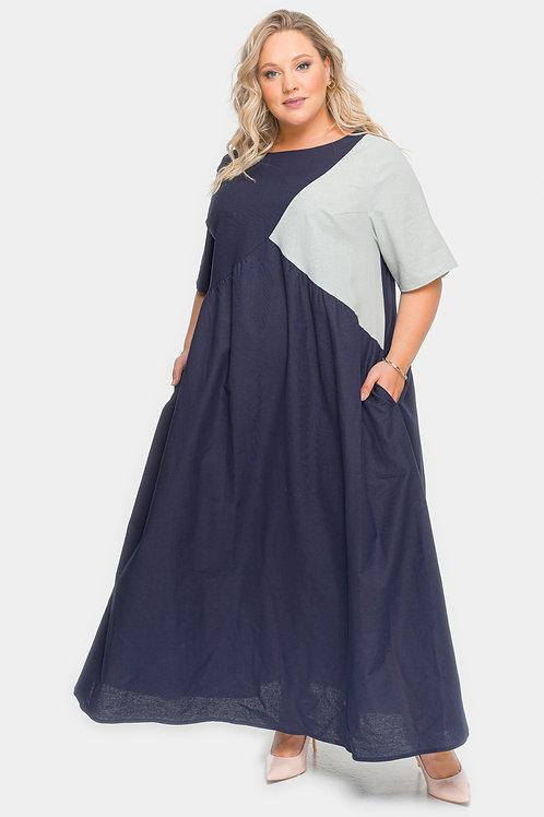 Летнее длинное платье из льна