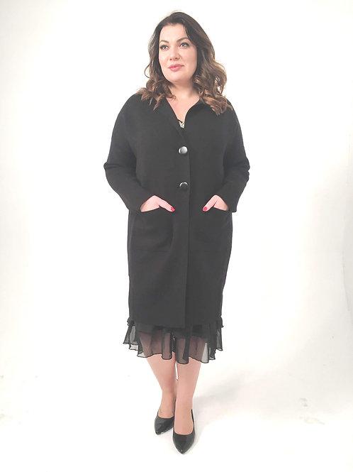 Трикотажный жакет-пальто с ангорой