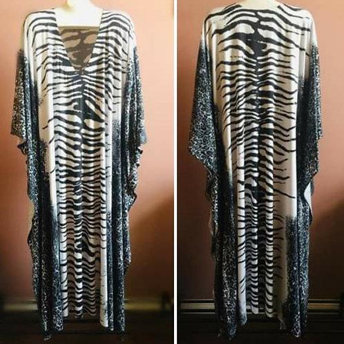 Платье с принтом зебры из хлопкового трикотажа