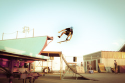 skater jumping from  a ramp