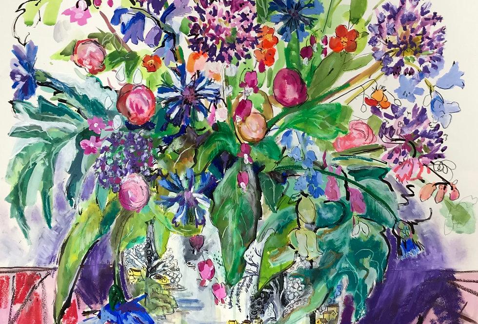 Garden Flowers in Yellow Willow Vase