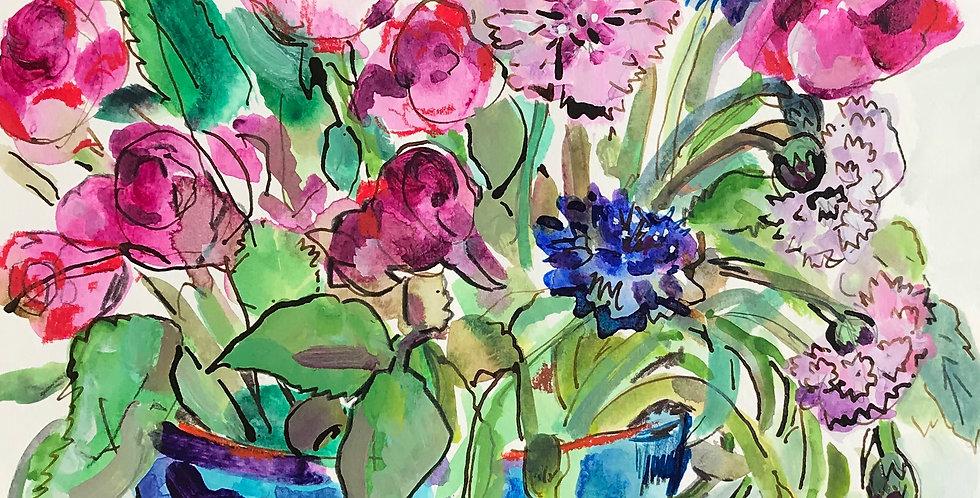 Cornflowers & Pink Roses