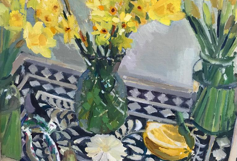 Daffodils with a Pear