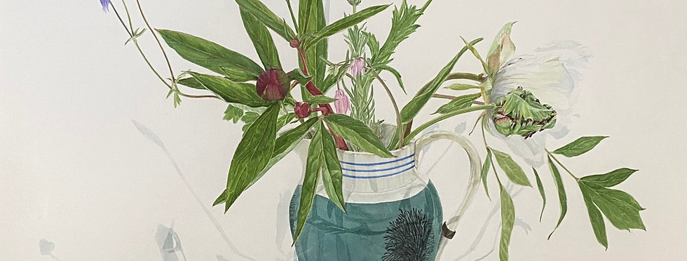 Flowers from the Garden in a Mochaware Jug