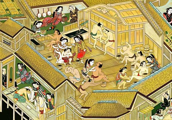 江戸時代初期の寛永年間(1624~43)頃の江戸を描いた『江戸名所図屏風』の湯女