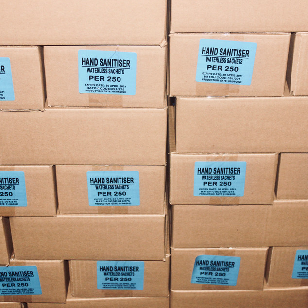 Hand sanitizer in cartons ready for distribution