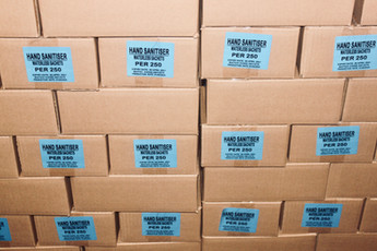 Hand sanitizer in boxes