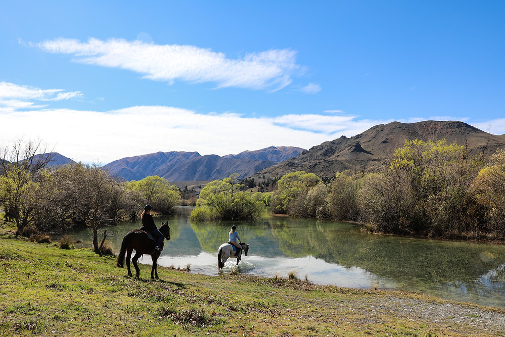 Two horses and riders at Lake with mountains and trees