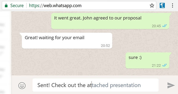 "Easily Respond To WhatsApp Messages On Our PCs. Our causal conversations on messaging apps like WhatsApp tend to be repetitive. ""How are you?"", ""Please call me when you can"", ""Let's have lunch together"" are merely examples of the texts we exchange with our friends and colleagues on a daily basis. While Lightkey was designed to meet the challenges of professional content creation, it also has the ability to to learn and predict causal conversations."